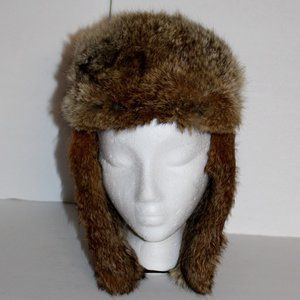 Aviator Bomber Trapper hat Rabbit fur & leather